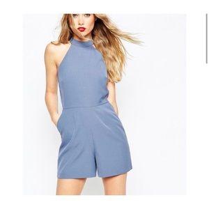 ASOS blue halter sleeveless open back romper